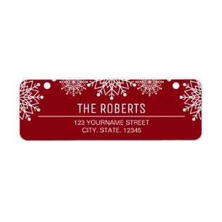 Cheerful Christmas | Red and White Snowflakes Label