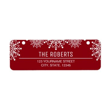 Christmas Themed Cheerful Christmas | Red and White Snowflakes Label
