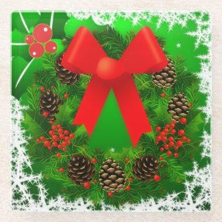 Cheerful Christmas Wreath Glass Coaster