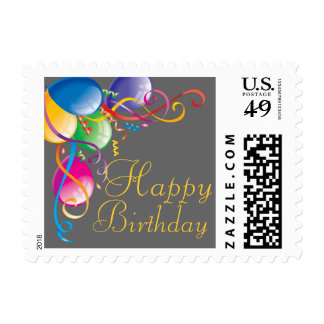Cheerful Colorful Birthday Balloons Postage Stamp