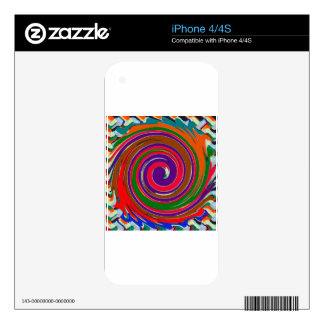 Cheerful Colorful whirl wind twirl design Decals For The iPhone 4