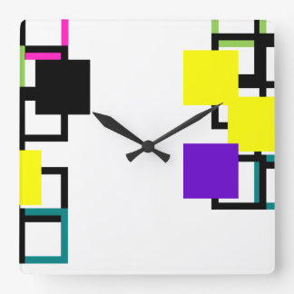 Cheerful Colourful Square Pattern Wall Clock