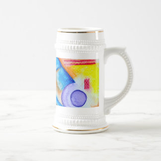 Cheerful Composition in Blue, Yellow and Red Beer Stein
