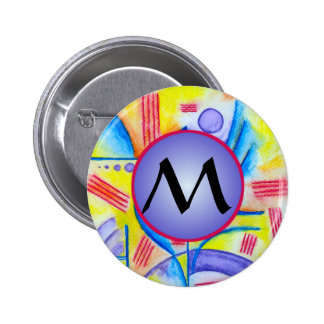 Cheerful Composition with Purple Monogram Pinback Button