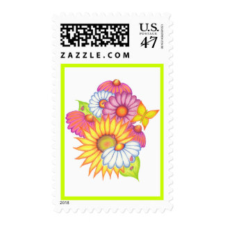 Cheerful Country Flowers Postage Stamp