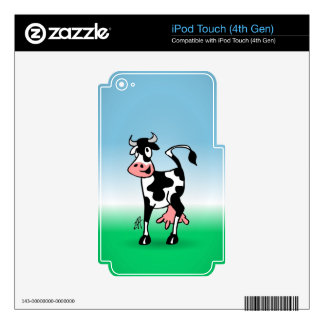 Cheerful cow in a meadow decals for iPod touch 4G