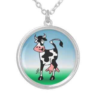 Cheerful cow in a meadow silver plated necklace