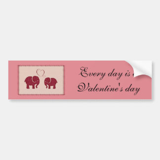 Cheerful cute elephants in love patchwork bumper sticker