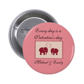 Cheerful cute elephants in love patchwork pinback button