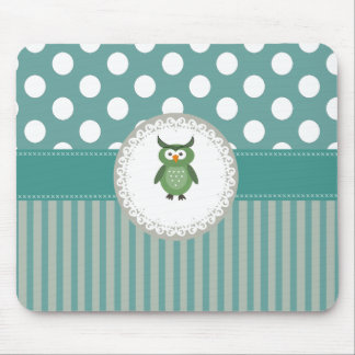 Cheerful cute owl doily lace mouse pad