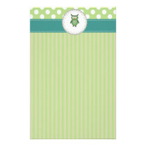 Cheerful cute owl doily lace stationery