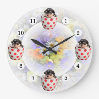 Cheerful Cute Teacup Puppy Spring Flowers Large Clock