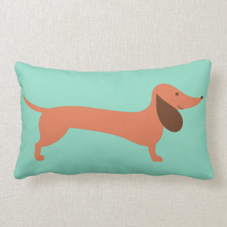 Cheerful Dachshund Lumbar Pillow