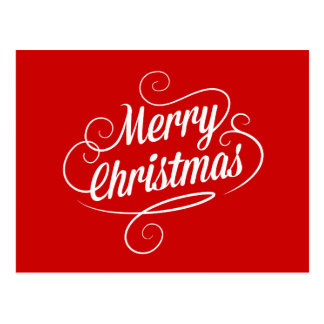 Cheerful Elegant Modern Merry Christmas Text Postcard