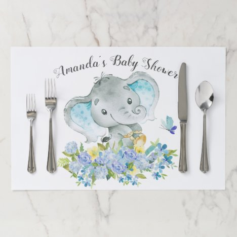 Cheerful Elephant Baby Shower Placemat