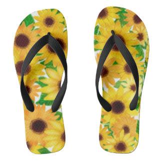 Cheerful European Sunflowers Flip Flops