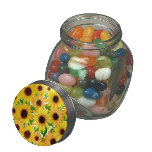 Cheerful European Sunflowers Jelly Belly Candy Jar