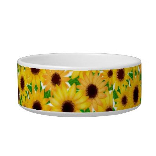 Cheerful European Sunflowers Pet Bowls Cat Food Bowl