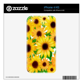 Cheerful European Sunflowers Zazzle Skin iPhone 4S Decal