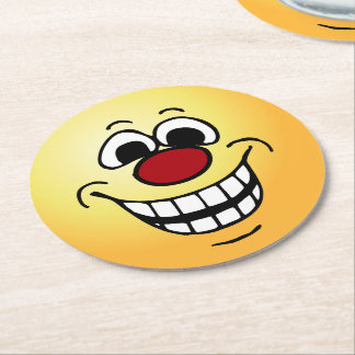 Cheerful Face: Congratulations on getting fired Round Paper Coaster