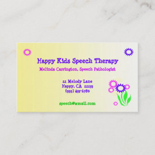 Speech therapy business cards templates zazzle cheerful flowers speech therapy business card colourmoves