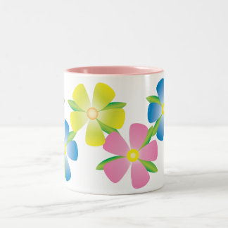 Cheerful Flowers Two-Tone Coffee Mug