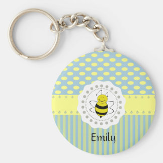 Cheerful funny cute bee doily lace keychain