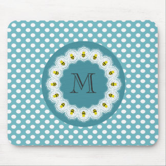 Cheerful funny cute bee doily lace mouse pad