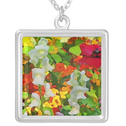 Cheerful Garden Colors Square Pendant Necklace