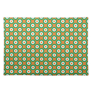 Cheerful Green/White/Orange Dots on Orange Placemat