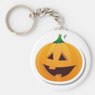 Cheerful Halloween Pumpkin Basic Round Button Keychain