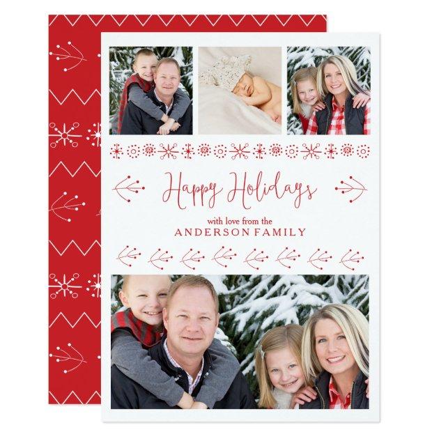 Cheerful Happy Holidays Family Photos Christmas Card