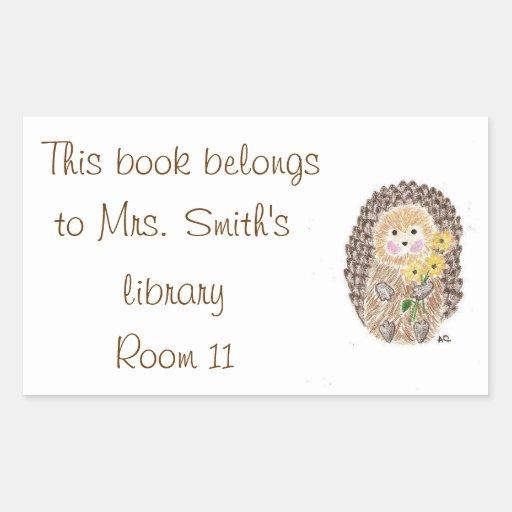 Hedgehog Classroom Decor : Cheerful hedgehog classroom library stickers zazzle