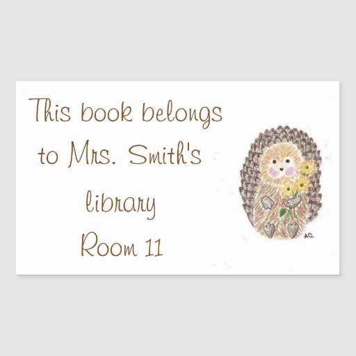 Cheerful hedgehog classroom library stickers