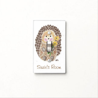 Cheerful hedgehog kid room light switch cover