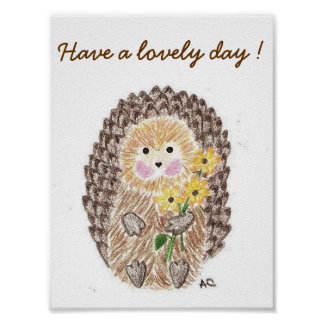 Cheerful hedgehog kids room poster