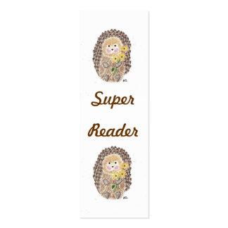 Cheerful hedgehog mini bookmarks Double-Sided mini business cards (Pack of 20)