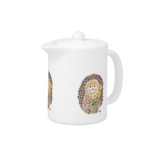 Cheerful Hedgehog Teapot at Zazzle