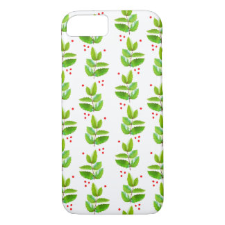 Cheerful Holly Berry Christmas Floral Pattern Case