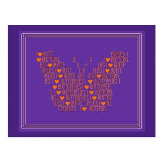 Cheerful I Love Butterflies Postcards