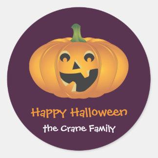Cheerful jolly pumpkin custom Halloween gift tag Classic Round Sticker
