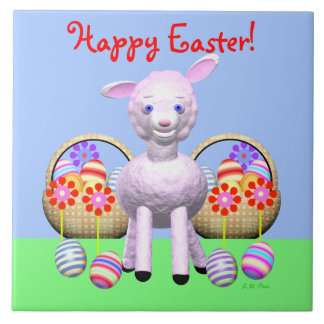 Cheerful Lamb and Easter Baskets Tile