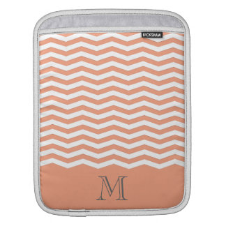 Cheerful ligh orange Trendy chevron  monogram iPad Sleeve
