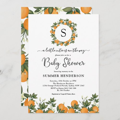 Cheerful Little Cutie Botanical Citrus Baby Shower Invitation