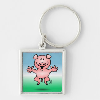 Cheerful little pig Silver-Colored square keychain