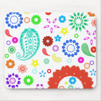 Cheerful lovely colorful floral and paisley mouse pad