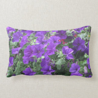 Cheerful lumbar pillow with purple petunias!