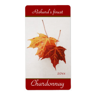Cheerful maple leaves wine bottle labels