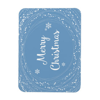 Cheerful Merry Christmas Snow Stars Blue White Magnet