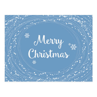 Cheerful Merry Christmas Snow Stars Blue White Postcard
